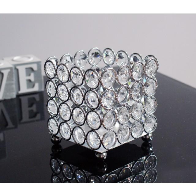 Świecznik metalowy z kryształkami