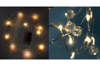 Lampki dekoracyjne LED na druciku z kryształkami