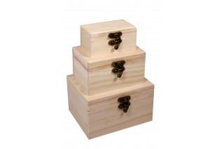 Szkatułki drewniane kpl. 3 szt.