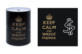 """Skarbonka metalowa 12/16 cm """"Keep calm and wrzuć piątaka"""""""
