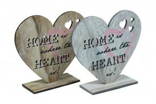 "Drewniana dekoracja - serce z napisem ""Home is when the heart is!"""