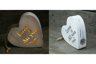 """Drewniana dekoracja podświetlana """"Love is all you need"""""""
