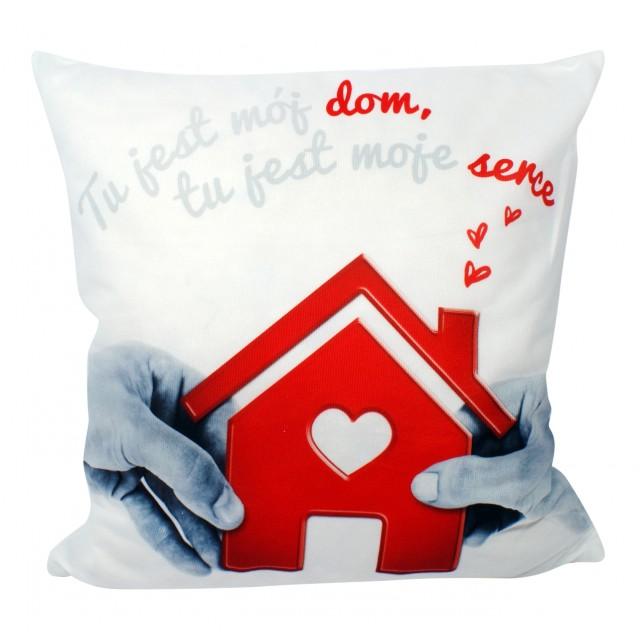 """Poszewki na poduszki kpl. 2 szt """"Tu jest mój dom, tu jest moje serce"""""""