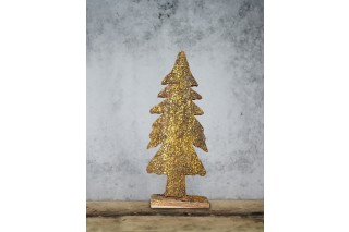 Drewniana choinka zdobiona brokatem 28/11 cm