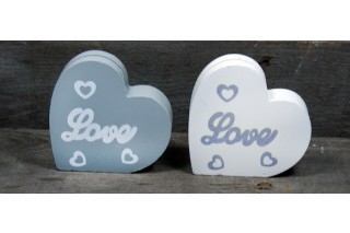 "Drewniane serce na zdjęcie 8/8 cm ""LOVE"""