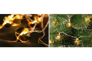 Lampki na choinkę - 10 złotych dzwoneczków
