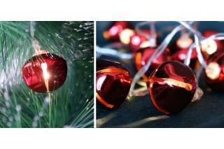 Lampki na choinkę - 10 czerwonych dzwoneczków