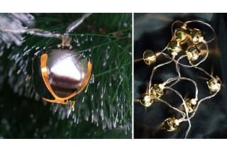 Lampki na choinkę - 10 srebrnych dzwoneczków