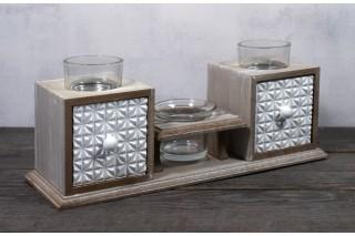 Świecznik drewniany z szufladkami