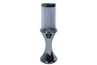 Świecznik ceramiczny ze szklanym kloszem