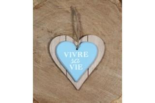 """Drewniane serce """"Vivre la vie"""" 12/12 cm"""