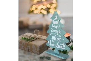 """Drewniana choinka z napisem """"Have a very Merry Christmas"""" 27/20 cm"""