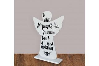 "Drewniany anioł z napisem ""Have yourself a merry little Christmas"" 27/20 cm"