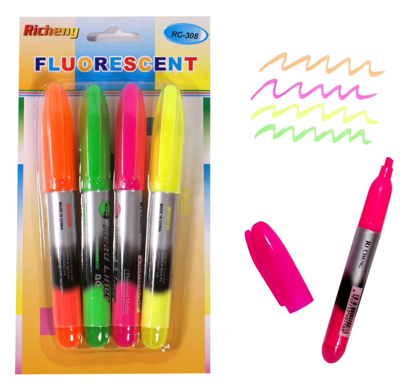 Pisaki fluorescencyjne kpl. 4 szt