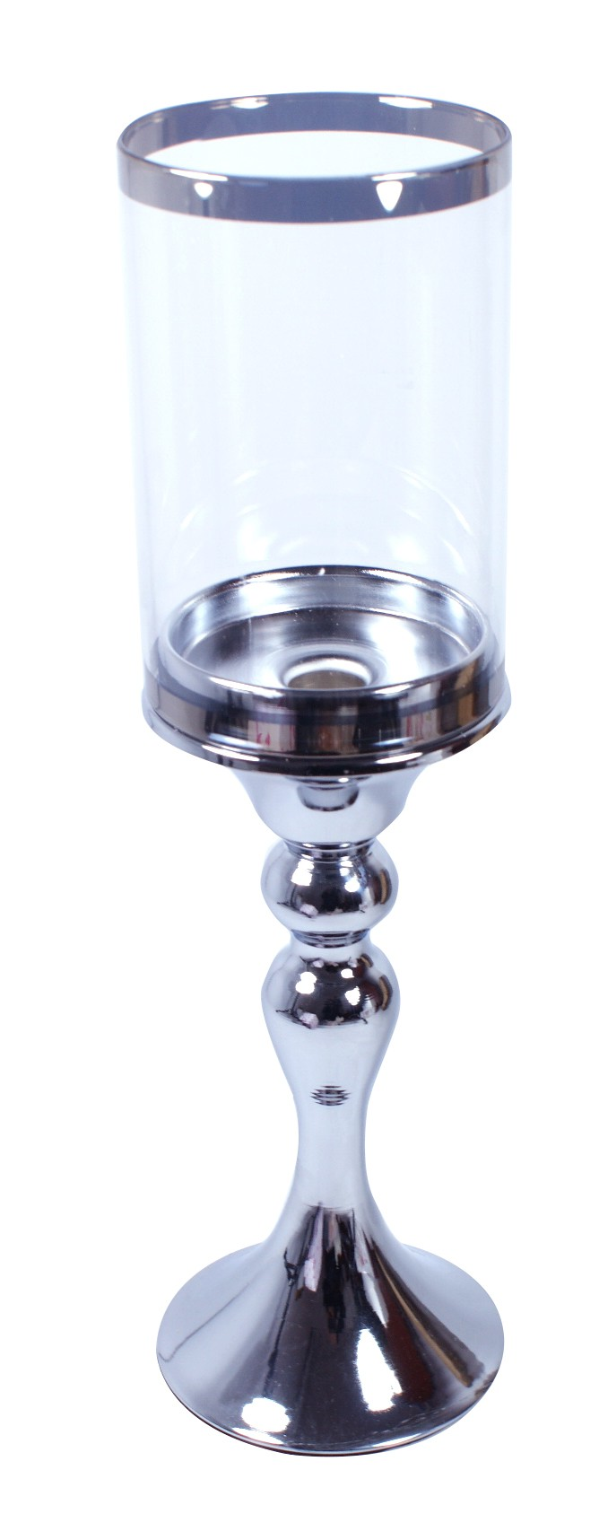 Świecznik metalowy ze szklanym kloszem  35 cm